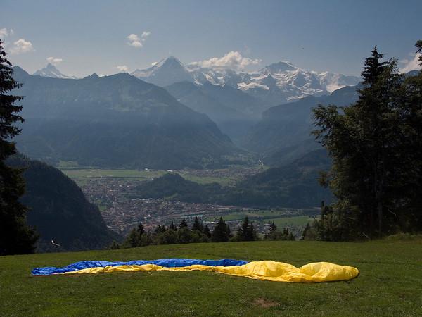 Paraglider launch site - Interlaken below and Jungfrau mountain region in the background