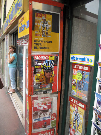 Monoco magazine shop was ready for the arrival of the Tour