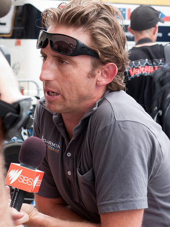 Matt White, director of Team Garmin-Slipstream, gives an interview before the start of stage 1.  He learned immediately after the interview that Tom Boonen had been cleared of doping allegations and was going to be allowed to race.