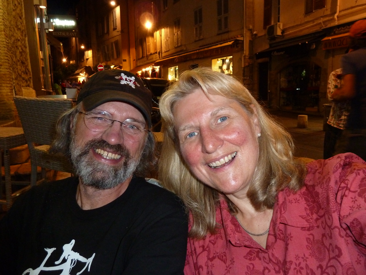 Having drinks and a grand ol' time in medieval Antibes, France.