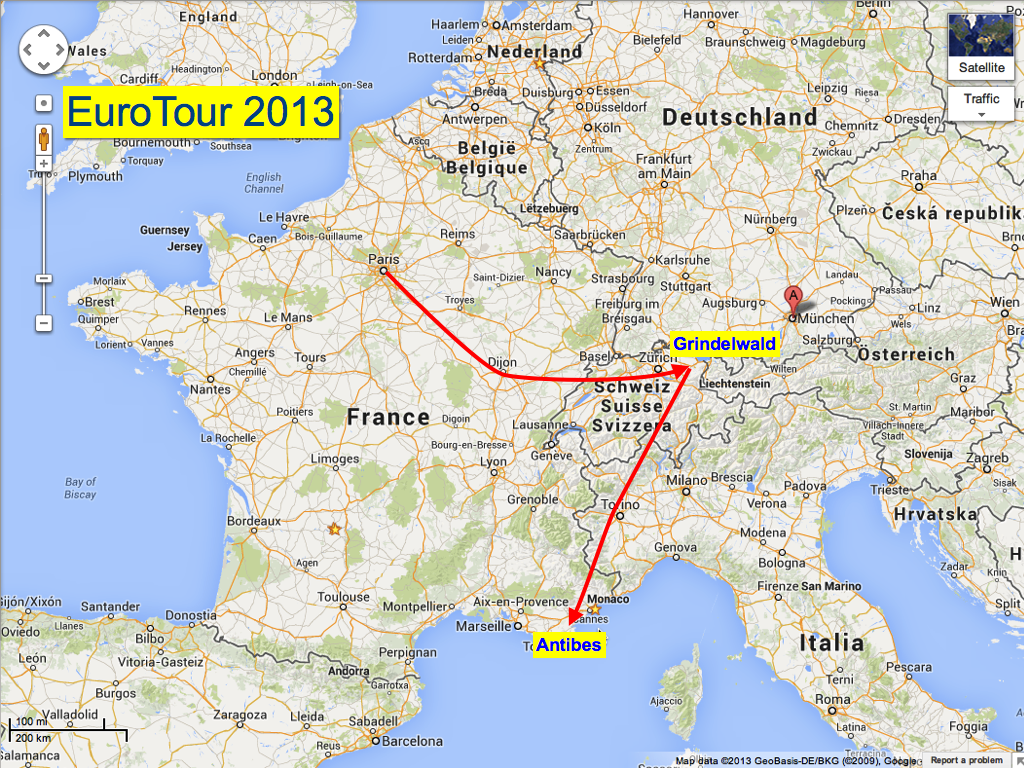 From Grindelwald over the alps to Antibes on the south coast of France for a visit at INRIA.