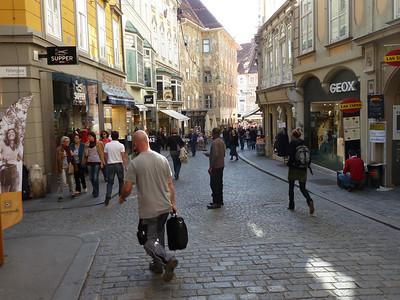 The pedestrian zone in downtown Graz.