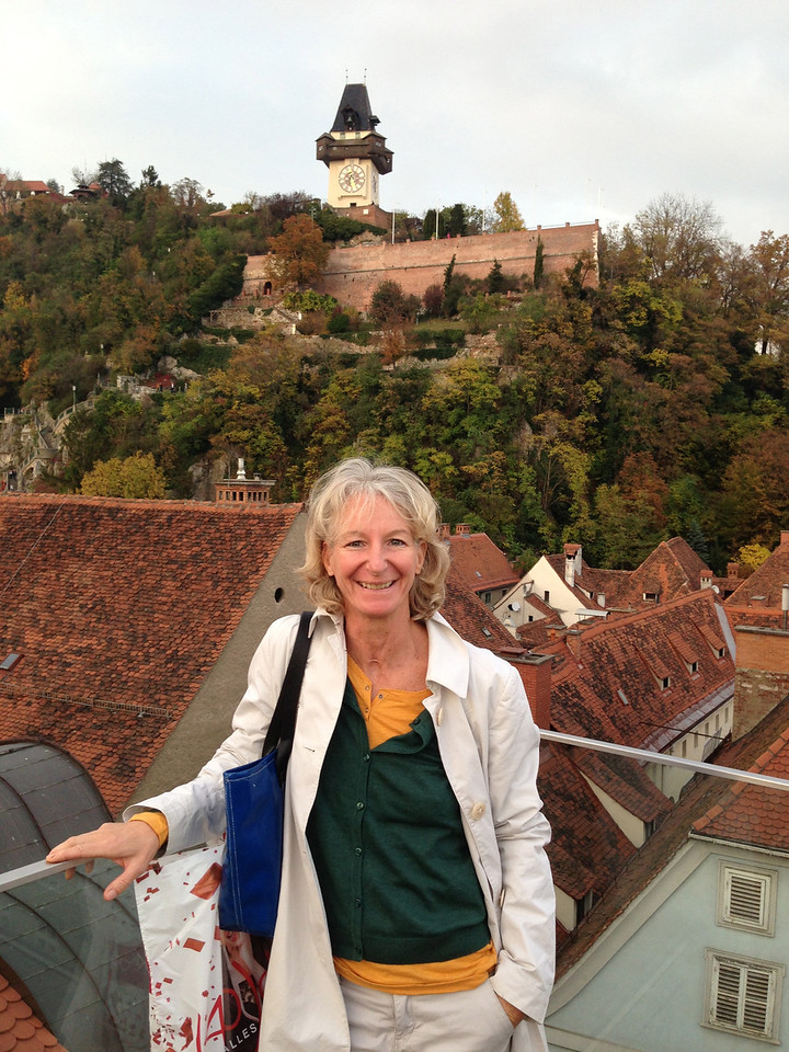 With Eva and Wofram at a rooftop restaurant in downtown Graz.