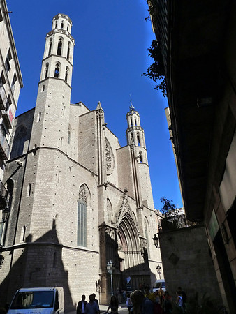 The very beautiful Santa Maria del Mar, one of the most beloved Barcelona cathedrals - outside and .....