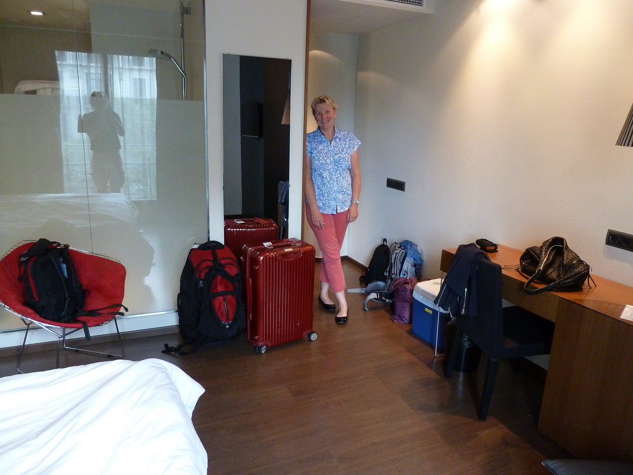 Our very spacious and modern Barcelona hotel room!! Just loved it!!