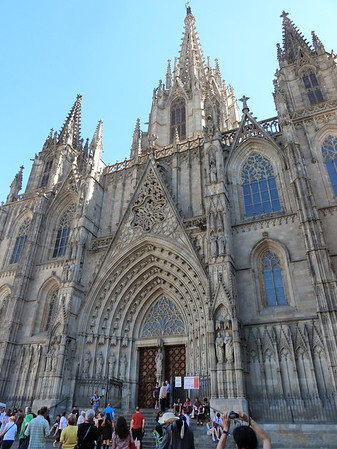 The Barcelona cathedral - outside and ......