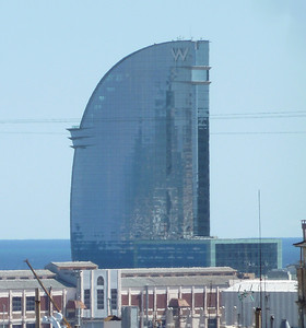 And now for some modern Barcelona architecture - this is a hotel right on the beach of the Mediterranean Sea.