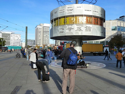 """Alexander Platz"" in the former East part of Berlin with its famous World Clock and still a touch of dreariness."