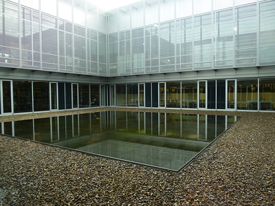 """The reflection pool in the courtyard of the """"Topography of Terror"""" Museum"""