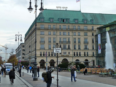 The famous Hotel Adlon just in front of the Brandenburg gate, in the former East Berlin, at the Pariser Platz.