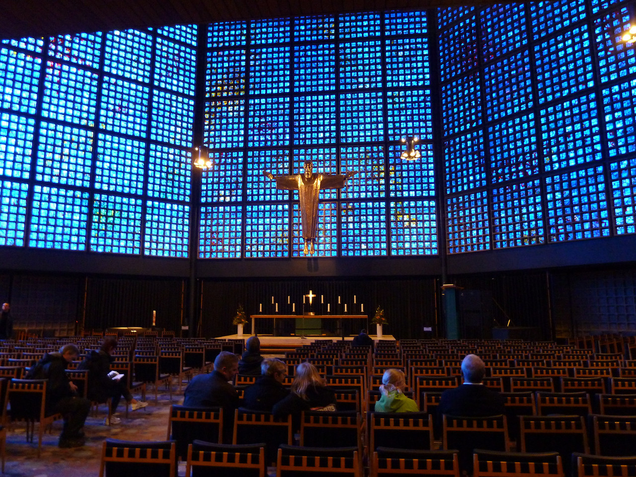 """The very impressive """"Gedächniskirche"""" (Memorial Church) in Berlin, built around the ruins of a former Berlin cathedral to commemorate the victims of WW II."""