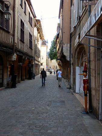 Cobblestone streets of central Dijon, France.