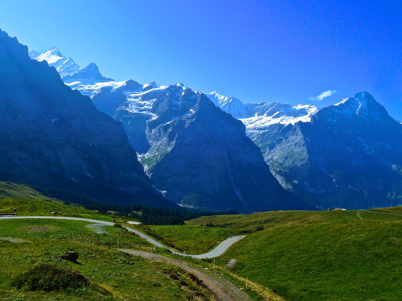 Eiger on the right, Schreckhorn in the middle, beginning of Wetterhorn on the left!