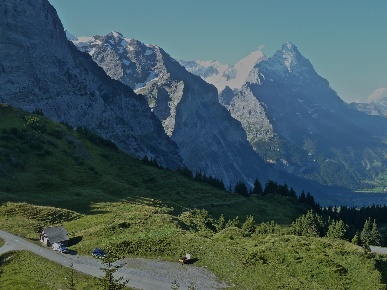 Getting closer to the mountain tops - Eiger on the right and Mönch next to it,
