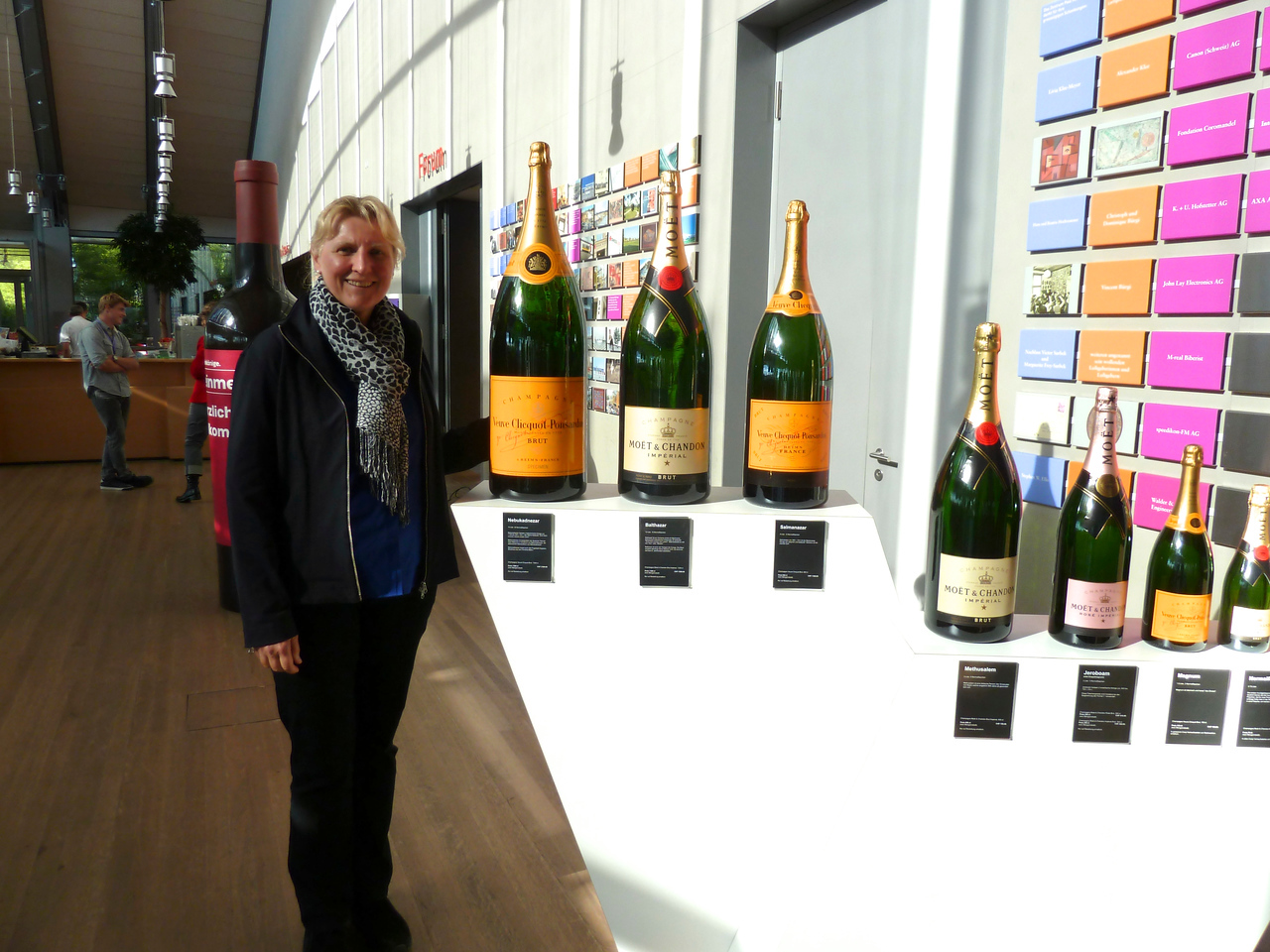 We were there just in time for a wine tasting, but no champagne, despite these gigantic bottles.