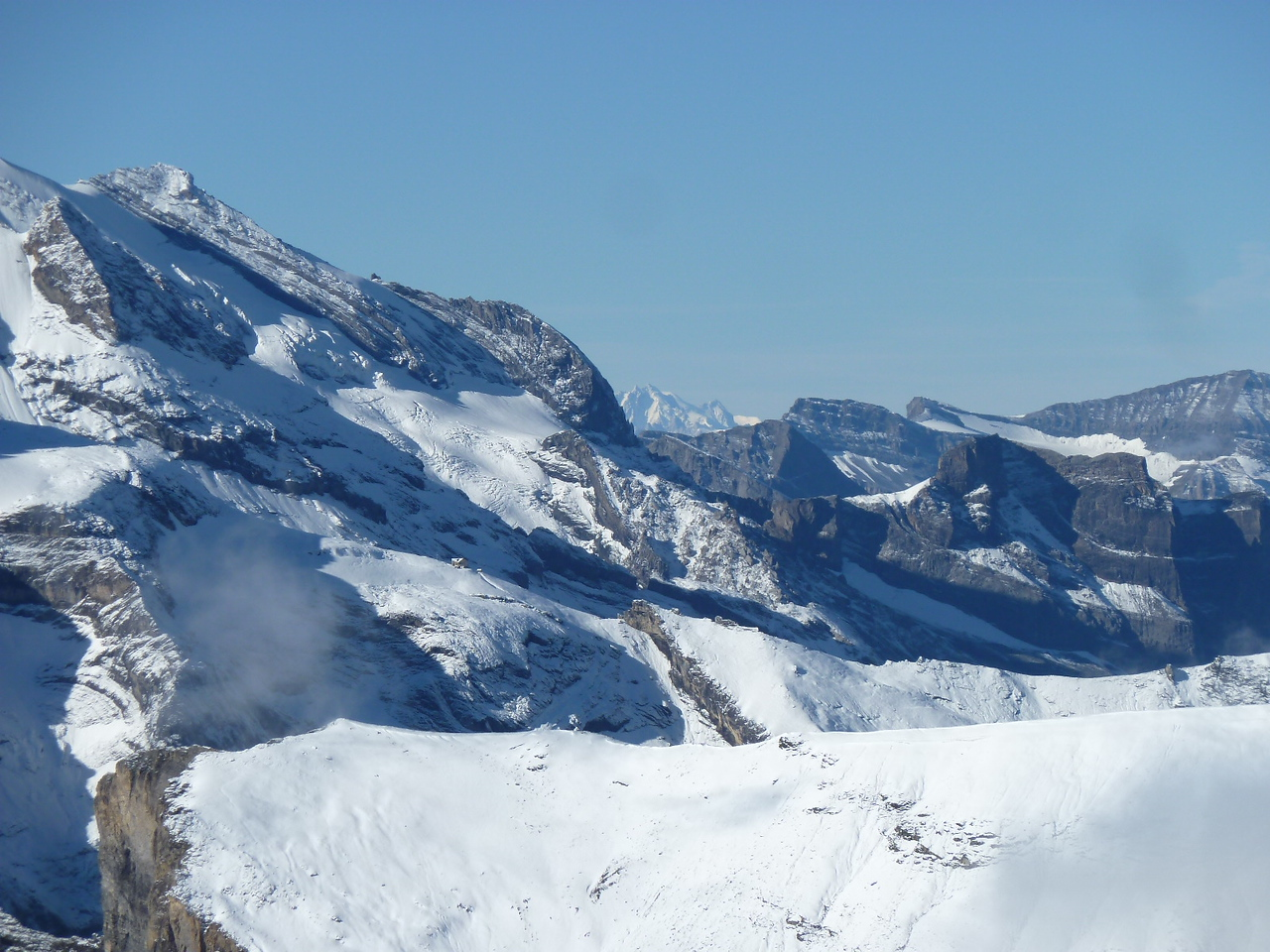 The Mont Blanc in the distance, in the middle, as seen from the Schilthorn.