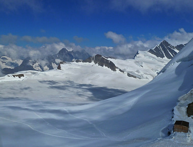 The view across mountain tops from the Mönchsfrau Hut.
