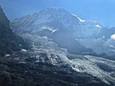 A shot of the Jungfrau with its glacier from the train just before we enter the tunnel through the Eiger.
