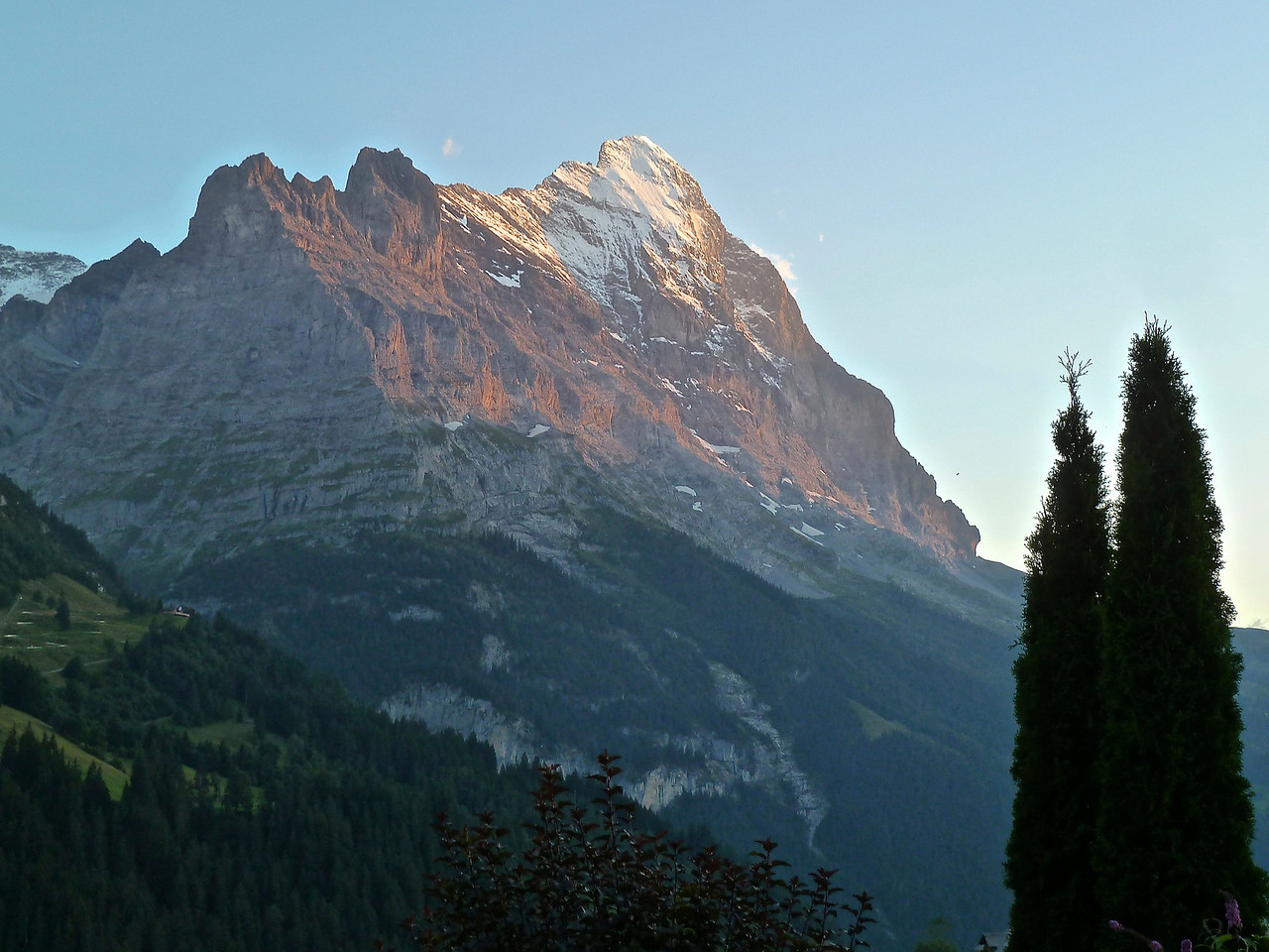 The Eiger North Face (far right) as seen from our apartment with Alpenglow!!