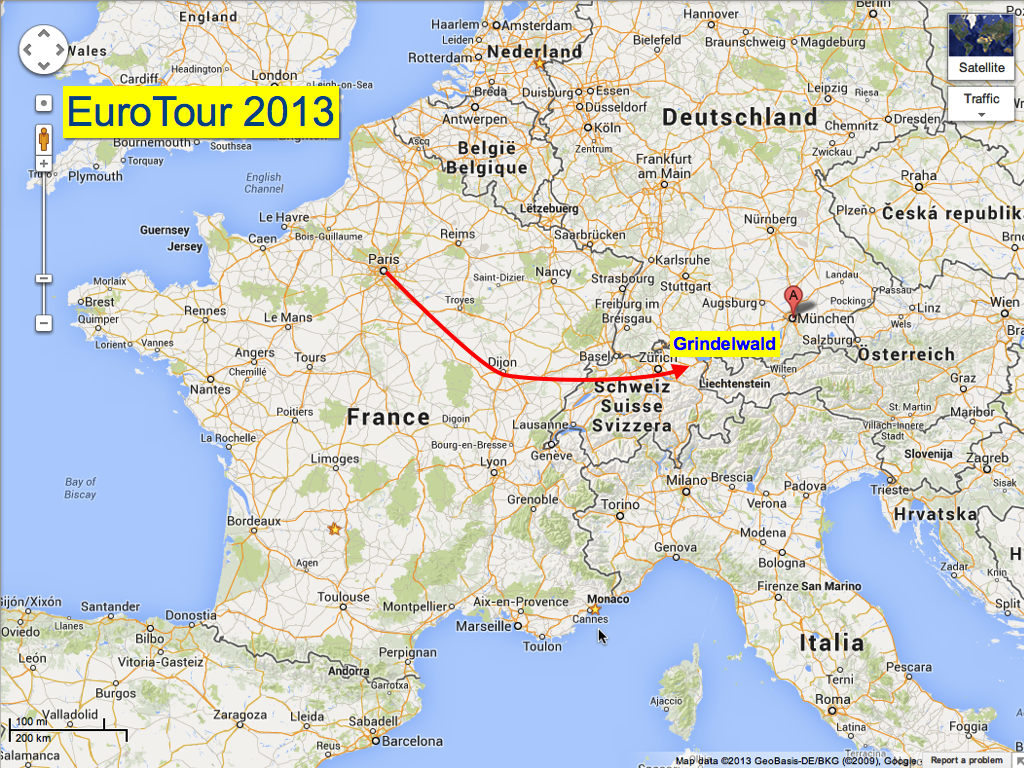 Day 1-2, the drive from Paris to Dijon and then to Grindelwald