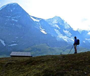 Rob looking at the Eiger North Face (left - 13,026 ft) and the Mönch (right - 13,475 ft) .