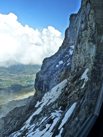 The Eiger North Face from the train look -out.