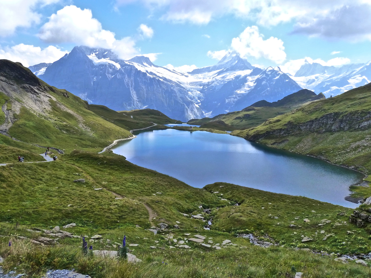 Bachsee with Schreckhorn (middle) and Wetterhorn (left).