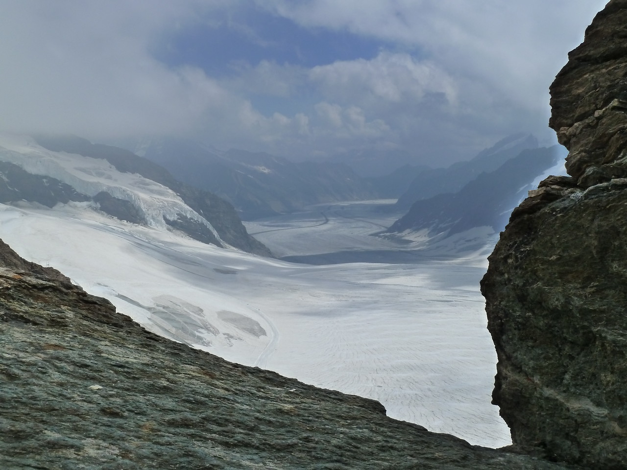 The view across glaciers from the Jungfraujoch at 3400 meters (>11,000 ft).