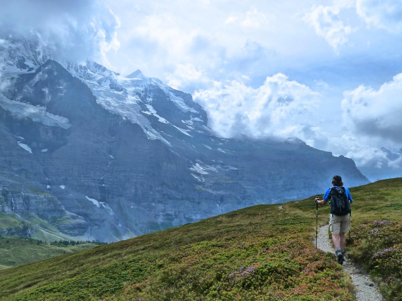 Rob hiking past the Jungfrau!