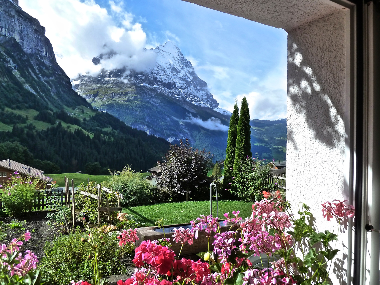 View out our apartment window on to the Eiger with new snow!
