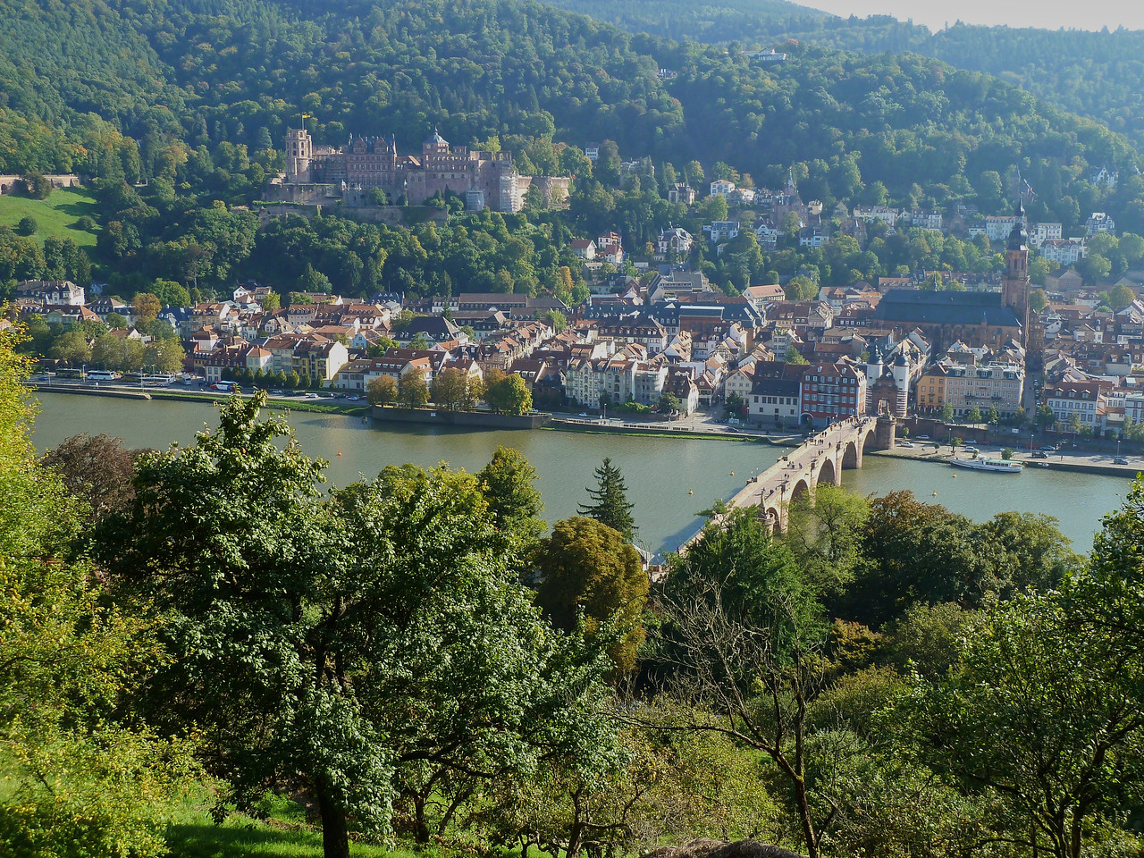 View of old Heidelberg and castle from the Philosopher's Trail!