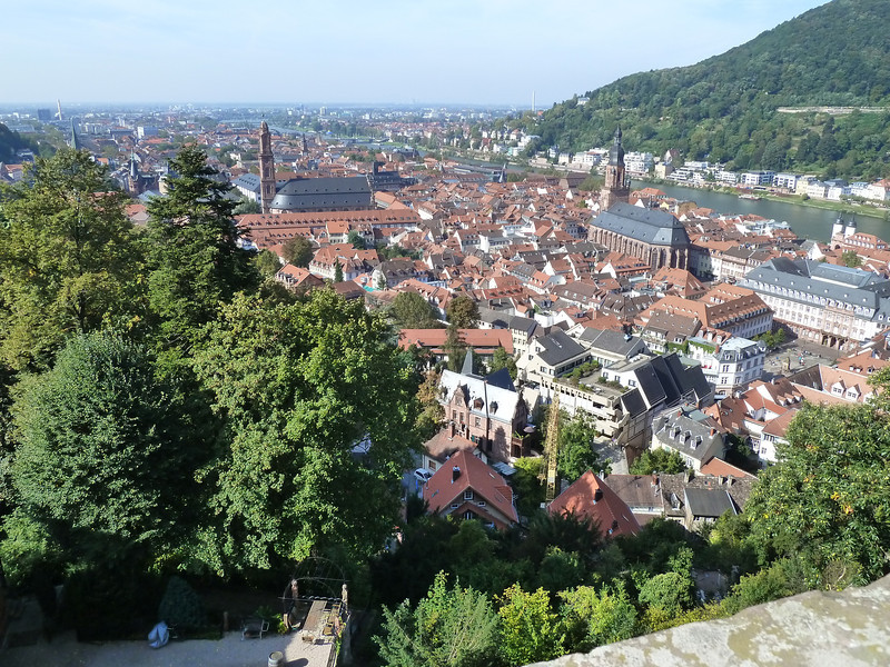 View from the castle across the old part of Heidelberg into the new. Note the river Neckar!