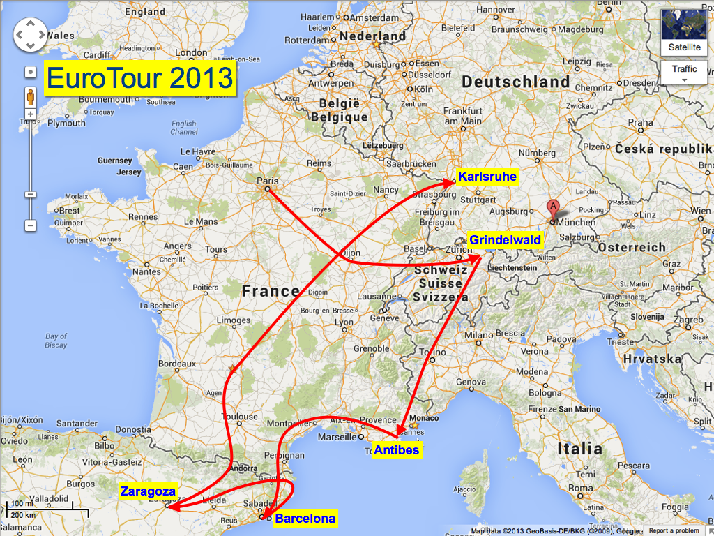 A week spent crossing France, the Pyrenees, The Dordognes, and then to Karlsruhe.