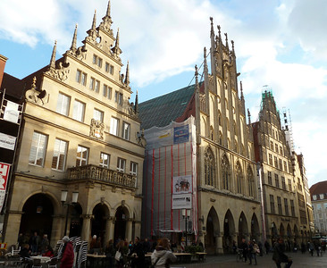 Another view of the medieval buildings in Münster and the pedestrian zone.