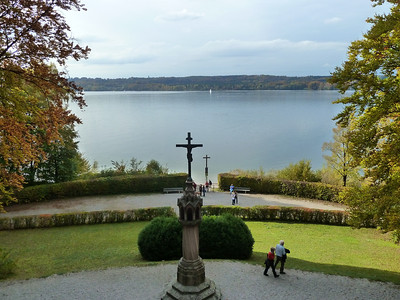"The site where King Ludwig II mysteriously ""drowned"" in the Starnberger See."