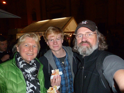 """With my nephew Paul at the """"Museum Night"""", a Munich event where all museums are open until 2 am and free!"""