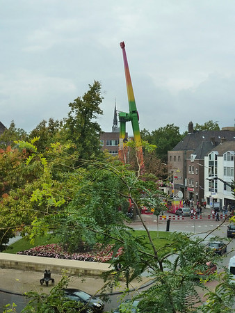 The view from our B B with a fair ride in Nijmegen.