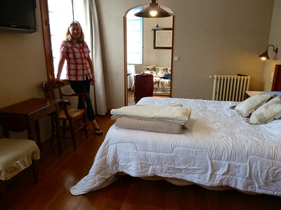 Our room in Coutaret. I have just had my birthday and am wearing my new birthday shirt from Heather - thanks!