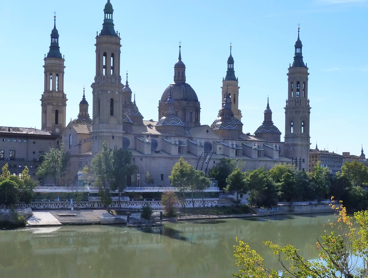 The El Pilar cathedral in Zaragoza, Spain - stunning with its tiled roofs!