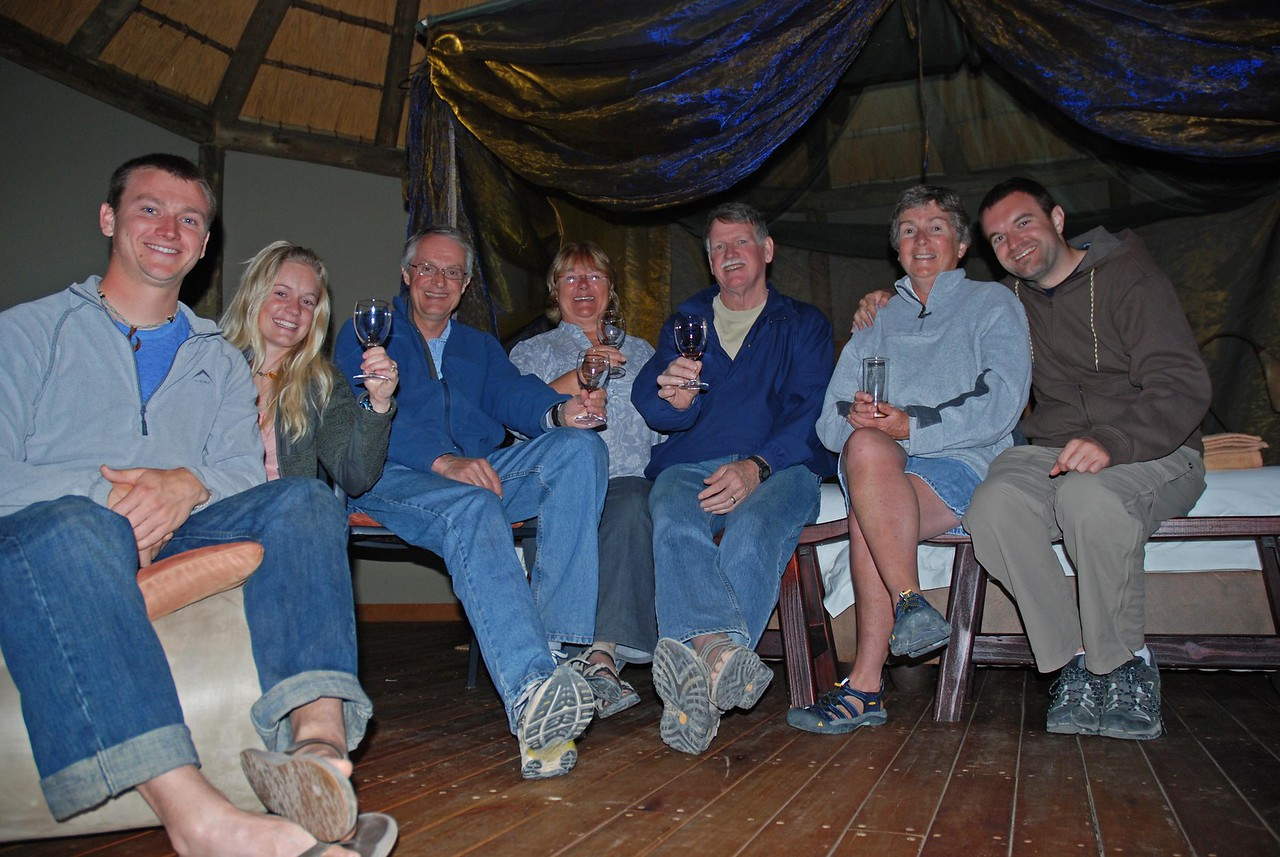 The Group (l to r): Craig, Laura, Robert, Kathy, Jim, Robin and Graham<br /> <br /> 27 September 2011<br /> <br /> Hello everyone! I hope this 3rd installment of photos and news from South Africa finds you well! <br /> <br /> We are not long back from a wonderful visit to our favourite South African National Park and to Namibia, the country which lies to the north of South Africa.  In 33 days, the seven of us - Robert and me, our son Graham, our daughter Laura and her partner Craig, and Craig's parents Kathy and Jim - traveled just over 5100km. We brought back many fond memories and over 6000 photos (that's just Robert's and my tally).<br /> <br /> Kathy and Jim arrived in Cape Town from Canada via Heathrow at the end of July on the first rainy day that we had experienced in Cape Town in a month. Up until their arrival, Cape Town had been experiencing an unseasonably dry and remarkably warm winter, with bright, sunny days and daytime temperatures in the low to mid 20s. Perfect weather from my perspective! We met Kathy and Jim, who looked remarkably chipper given the two long flights they had just endured, at the airport and, over the next month, took them to visit some of Craig and Laura's and Robert's and my favourite places in Southern Africa.