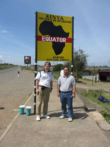 After breakfast it was a short drive to the equator.  There a helpful man showed us that if we walked 20 meters north of the equator then water coming out of a hole in the bottom of his plastic bowl formed a clockwise whirlpool while 20 meters south of the equator the whirlpool was counter clockwise and at the equator there was no whirlpool at all.  Did he start the water whirling in these directions?  Or is it real?