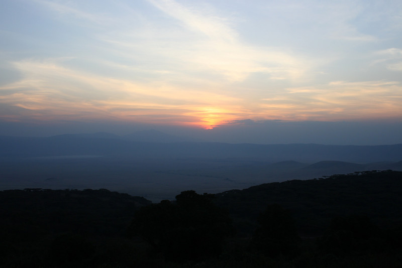 Sunset over the Ngorongoro Crater. Tanzania, Africa.