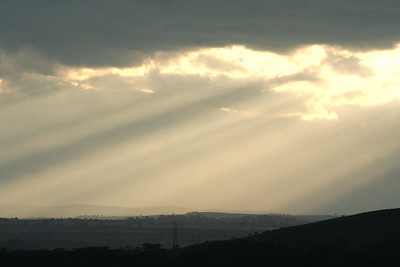 Rays of the early morning sun peeping through the rain clouds over the Nakuru lake.