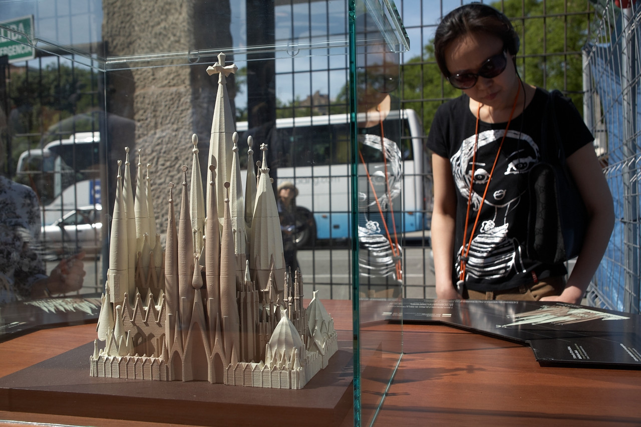 This is a model of the cathedral outside the Passion Facade.