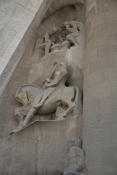 Soldiers gambling and a centurion on the left hand side of the Passion Facade.