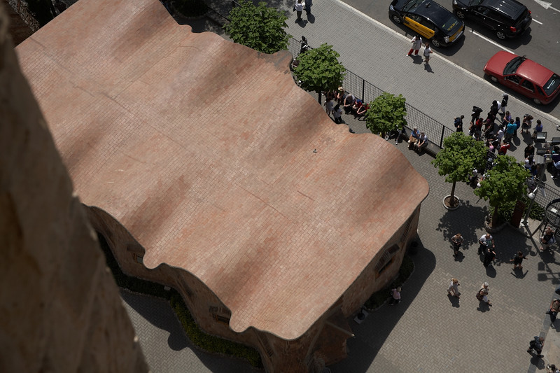 This is a view from above of the school outside the cathedral. Notice the curves of the roof.