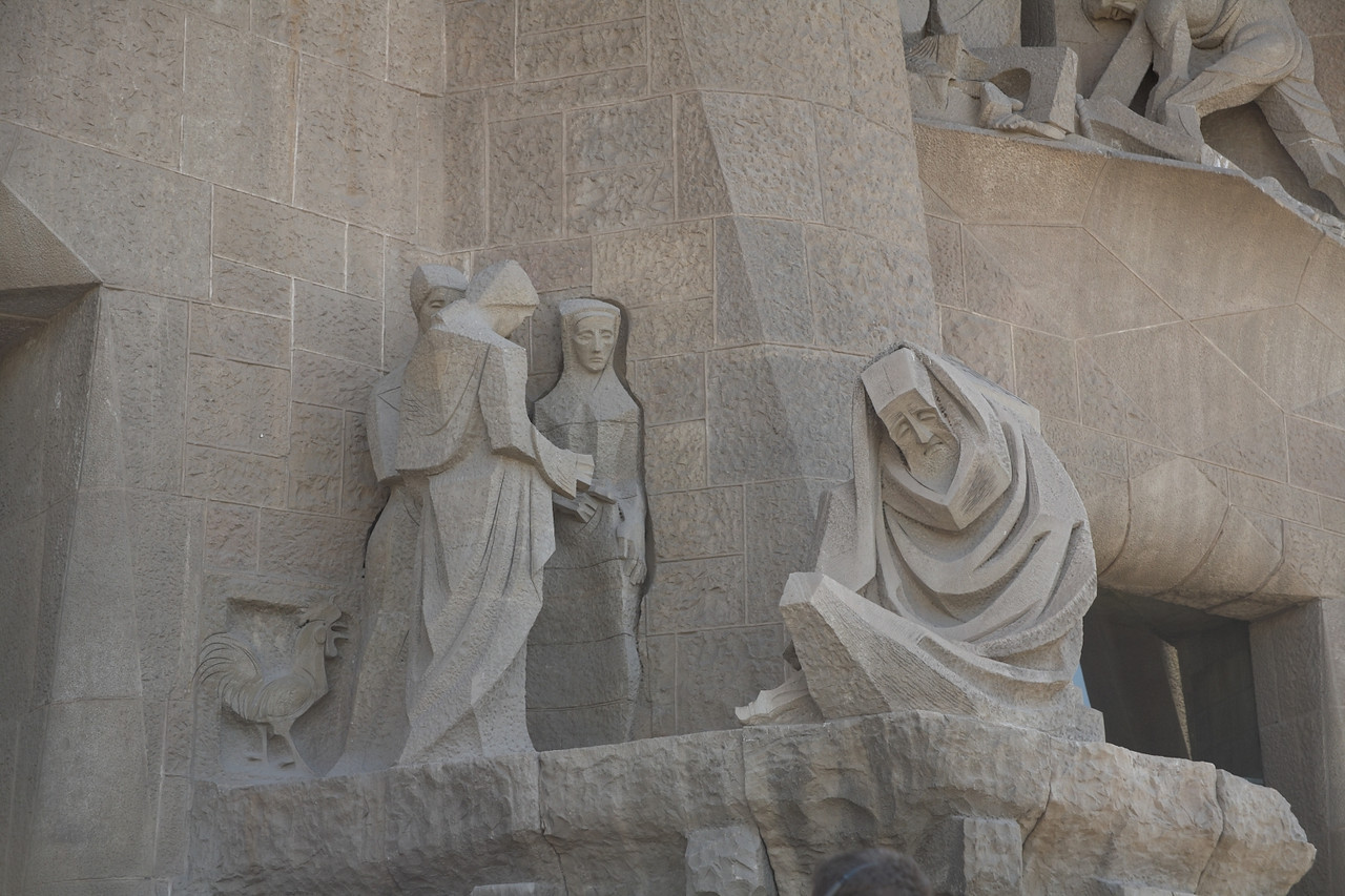 In this part of the Passion Facade, Peter denies knowing Christ.