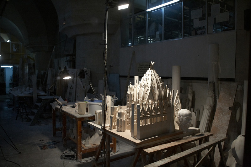 Gaudi's workshop in the basement of the cathedral.