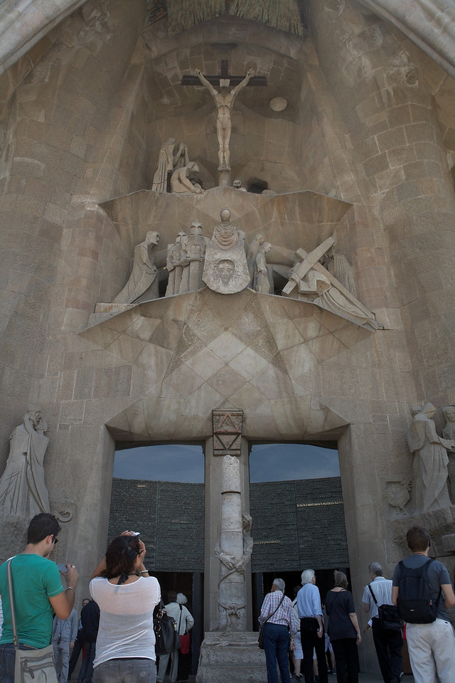This part of the Passion Facade shows the whipping and crucification of Christ.