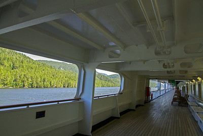 Looking out from starboard side deck